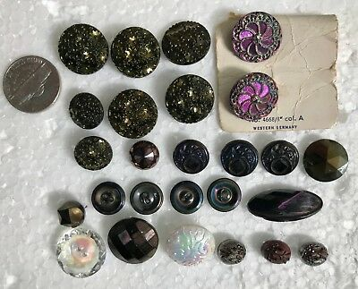 Lot of 26 Antique Vintage Glass Iridescent Luster Buttons Sewing