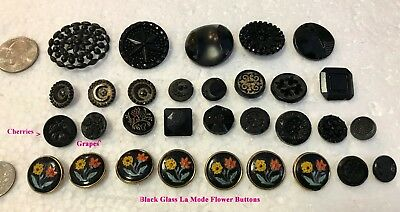 Lot of 31 Antique Vintage Black Glass Buttons Moon Stars Fruit Floral Sewing