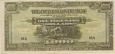 $1000 Dollars Malaysian Japanese Invasion Money Banknote Note Bill Cash Jim Wwii
