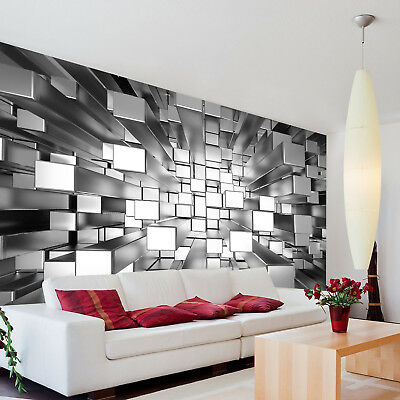 3d Colours Cubes Silver Wallpaper Photo Pattern Wall Mural
