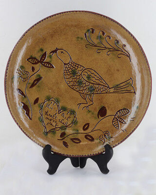 Vintage PA German Sgraffito Phesant Plate Studio Folk Art Pottery Signed Becky