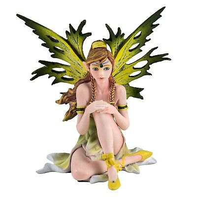 """Green and Yellow Sitting Fairy Figurine 5"""" High Detailed Resin New In Box!"""