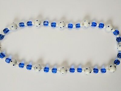 Vintage Art Deco White Polka Dot and Blue Handmade Glass Bead Necklace