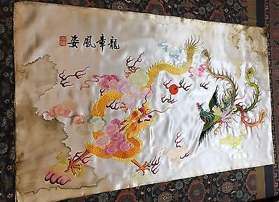 "Antique Chinese+Japanese Wall Hanging Hand Embroidery Silk Art Textile 27""By46"""
