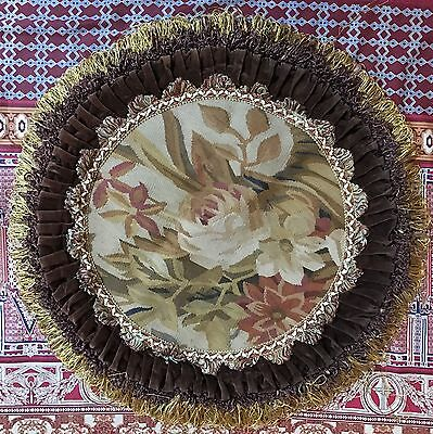 "ANTIQUE 19C AUBUSSON FRENCH HAND WOVEN TAPESTRY CUSHION ROUND 22"" By 22"""