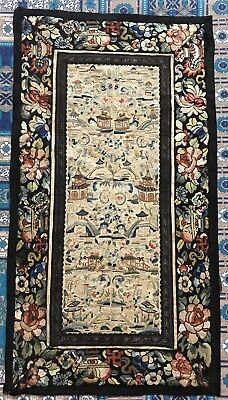 """Antique Chinese Hand Embroidery Sleeve Band Scenery Penal 13.5"""" By 24"""""""