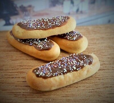 Dolls House Miniature Food Handmade * 4 X Frosted Choc Eclairs * Combined P+P