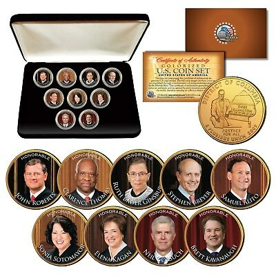 JUSTICES SUPREME COURT Washington DC Quarters 24K Gold Plated 9-Coin Set w/ Box