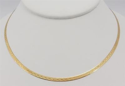 """14K yellow gold ladies 18"""" ornate flat 3mm necklace Italy 4.8g"""