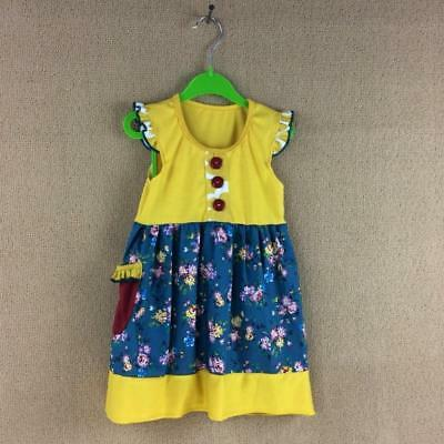 W-552 Boutique Yellow w/Blue Floral Dress (Ready to Ship From Ohio)Free Shipping