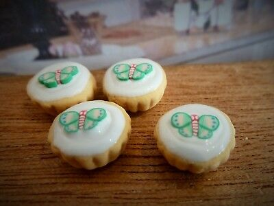 Dolls House Miniature Food Handmade * 4 X Green Butterfly Cupcakes *combined P+P