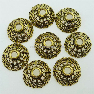 12762 35PC Antique Gold Tone Alloy Hollow S 14mm Spacer Bead End Beads Caps Hold