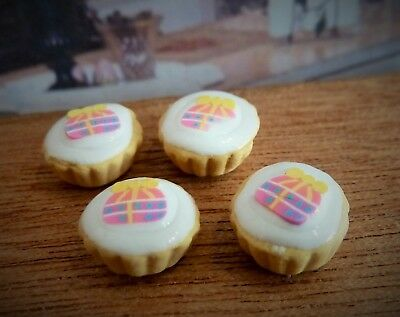 Dolls House Miniature Food Handmade * 4 X Gift Design Cupcakes *combined P+P