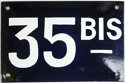 Old blue French house number 35 BIS door gate plate plaque enamel steel sign