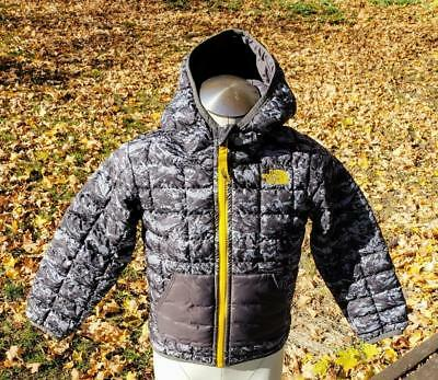 f7d4f11fdf86 The North Face Toddler 4T Thermoball Jacket Coat Hoodie Black Gray Yellow  Boys
