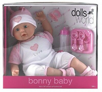 "Dolls World Bonny Baby 'Love' Large 18"" Soft Body White Doll New"