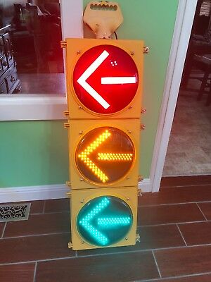 "Retired Traffic Signal Light With Rare Arrows LED, Man Cave! 12"" Solid Light"
