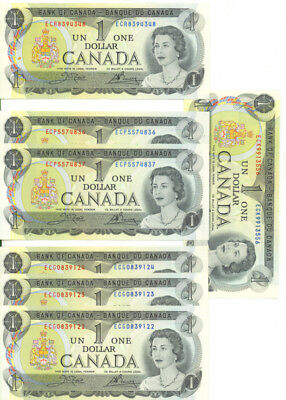 Bank of Canada 1973 $1 One Dollar Lot of 7 Notes Some Consecutive  AU/UNC