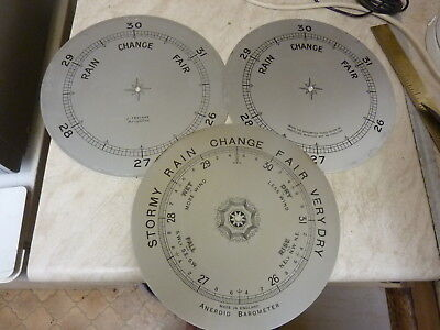 "3 Used 7 7/8"" Aneroid Barometer Dials"
