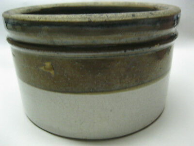 "Vintage brown and white stoneware crock 3 1/2"" tall x 6"" across good condition"