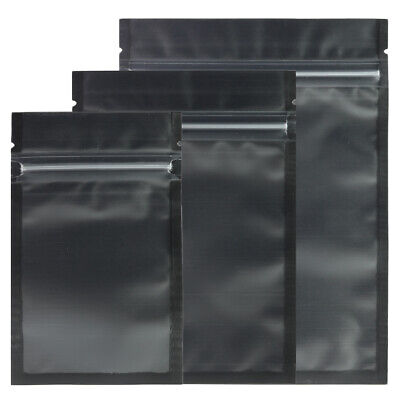 New Flat Matte Translucent/Black Resealable Poly Zip Lock Bags in Various Sizes