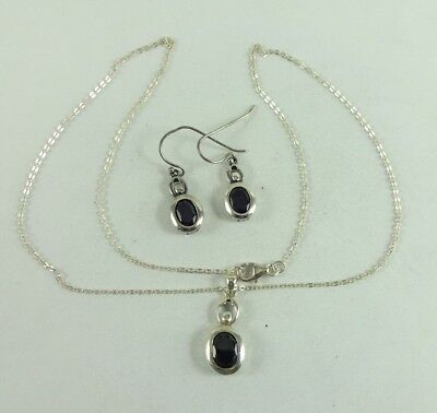 Sterling Silver Circle Design Garnet Necklace Earring Set 6.7 Grams Signed LUC