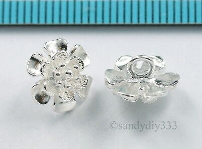 2x STERLING SILVER BRIGHT FLOWER CHARM CAP SPACER BEAD 9.5mm #2977