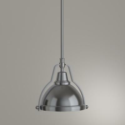 7975c160248 Hampton Bay 1-Light Brushed Nickel Mini Pendant with Shade   Clear Ribbed  Glass