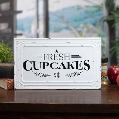 Fresh Cupcakes Metal Sign Vintage Inspired Distressed White Wall Mounted Sign