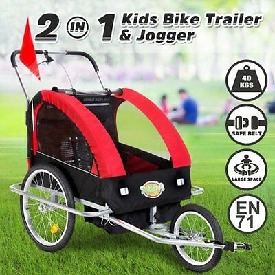 NEW Lightweight Kidbot 2 in 1 Bicycle Trailer Pram Stroller Jogger- Red+Black