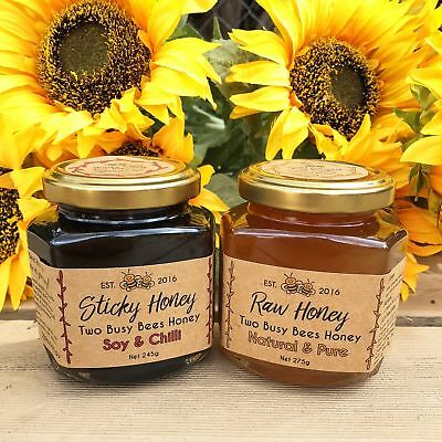 Honey soy chilli dressing and pure raw honey - Two glass jar set