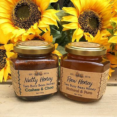 Nutty Honey and pure raw honey - Two glass jar set