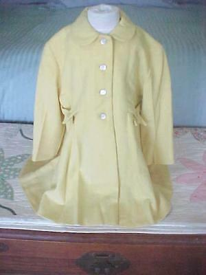 Little Girls Vintage Coat ~ Millicent of San Francisco ~ Yellow Wool Satin Lined