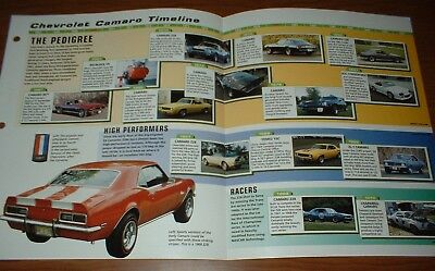 ★1967-98 History Of Chevy Camaro Brochure Poster Copo Ysc Ss Rs Z/28 69 67 70 83