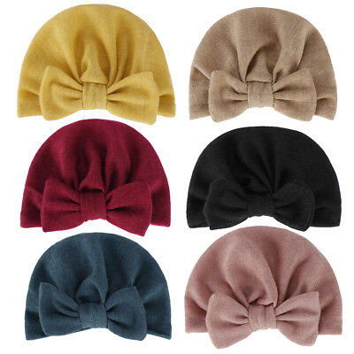 Hot Newborn Toddler Baby Girls Turban Knot Head Wrap Beanie Hat Winter Cap Charm