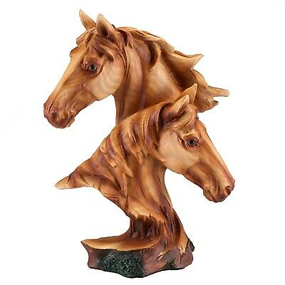 "Horse Heads Bust Faux Carved Wood Look Figurine Statue 9"" Resin New In Box!"