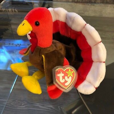 "Authentic Ty Beanie Baby ""Gobbles"" - MWMT PE PELLETS,  GASPORT ERROR"