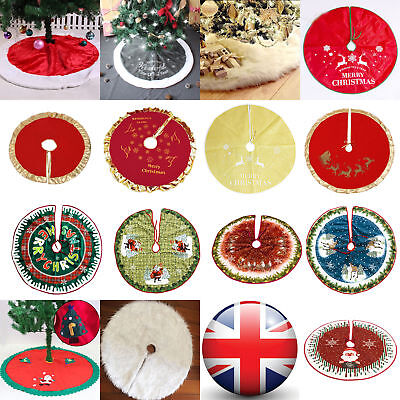 14Styles Christmas Tree Skirt Base Floor Mat Cover Xmas Party Home Decoration AU