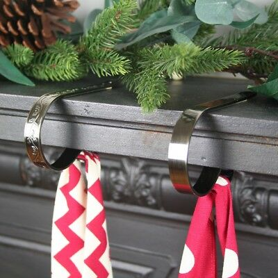 Christmas Stocking Holder Mantle Clip -Original - One Clip - Antique Brass Holly