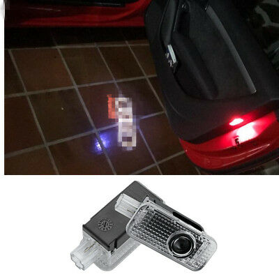 2X LED Car Door Welcome Lamp Laser Projector Ghost Shadow Logo Light For Audi