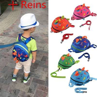 Cute Baby Toddler Kids Dinosaur Safety Harness Strap Bag Backpack With Reins UK