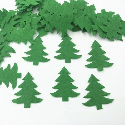100pcs Green Christmas tree Die Cut Felt Appliques Cardmaking decoration 33mm