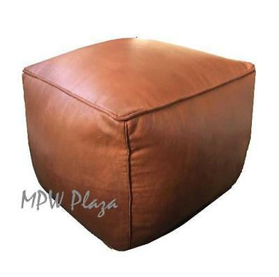 Admirable Square Brown Leather Moroccan Pouf Ottoman 100 Handmade Ncnpc Chair Design For Home Ncnpcorg