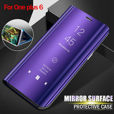 Leather Bag Flip 360 Full Cover Clear View Mirror Stand Smart Case For Oneplus 6