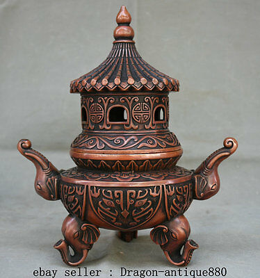 """10"""" Qianlong Marked Rare Chinese Red Bronze Elephant Tower Incense Burner Censer"""