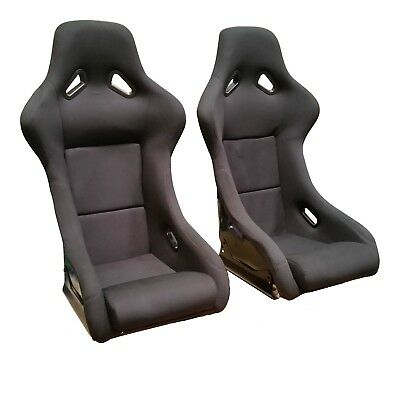 Bucket Seats Glass Fibre Black Side Base Mounted Pair Racing Track Lightweight