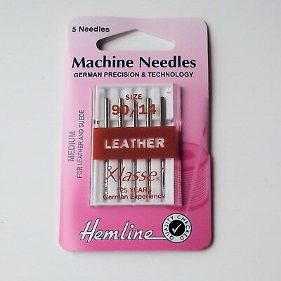 Leather Sewing Machine needles, Hemline, 5 needles, Various sizes, MN14