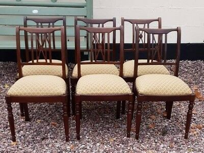 Dining Chairs Reproduction Mahogany X 6 Gold  Seat Bases Very Solid Clean .