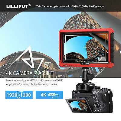 Lilliput A7S 7Inch 1920x1200 IPS On DSLR Camera-top Screen 4K HDMI Field Monitor