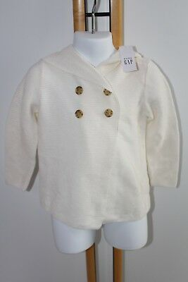 Baby Gap Girl Size 2 Years Cardigan Sweater NWT NEW Cream Ivory Hood $32.99
